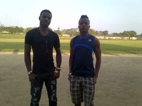 Benedict Okotu [Left] and teammate Emmanuel Elemi at Abraham Ordia Stadium,University of Calabar.jpg