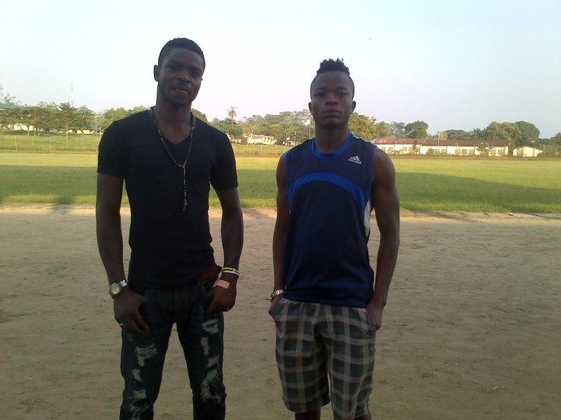 Benedict Okotu [Left] and teammate Emmanuel Elemi at Abraham Ordia Stadium,University of Calabar.jpg